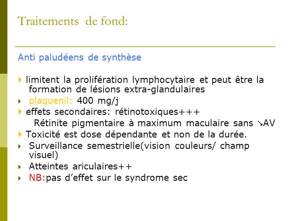 Traitements de fond: Anti paludéens de synthèse