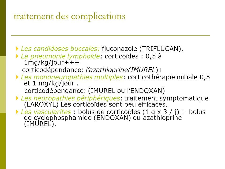 traitement des complications