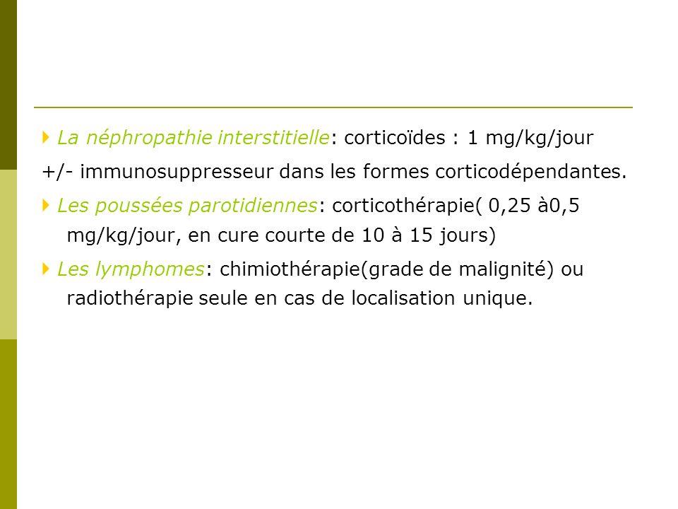  La néphropathie interstitielle: corticoïdes : 1 mg/kg/jour