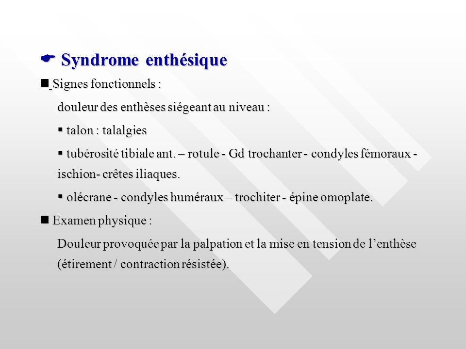  Syndrome enthésique  Signes fonctionnels :