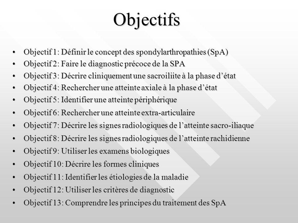 Objectifs Objectif 1: Définir le concept des spondylarthropathies (SpA) Objectif 2: Faire le diagnostic précoce de la SPA.