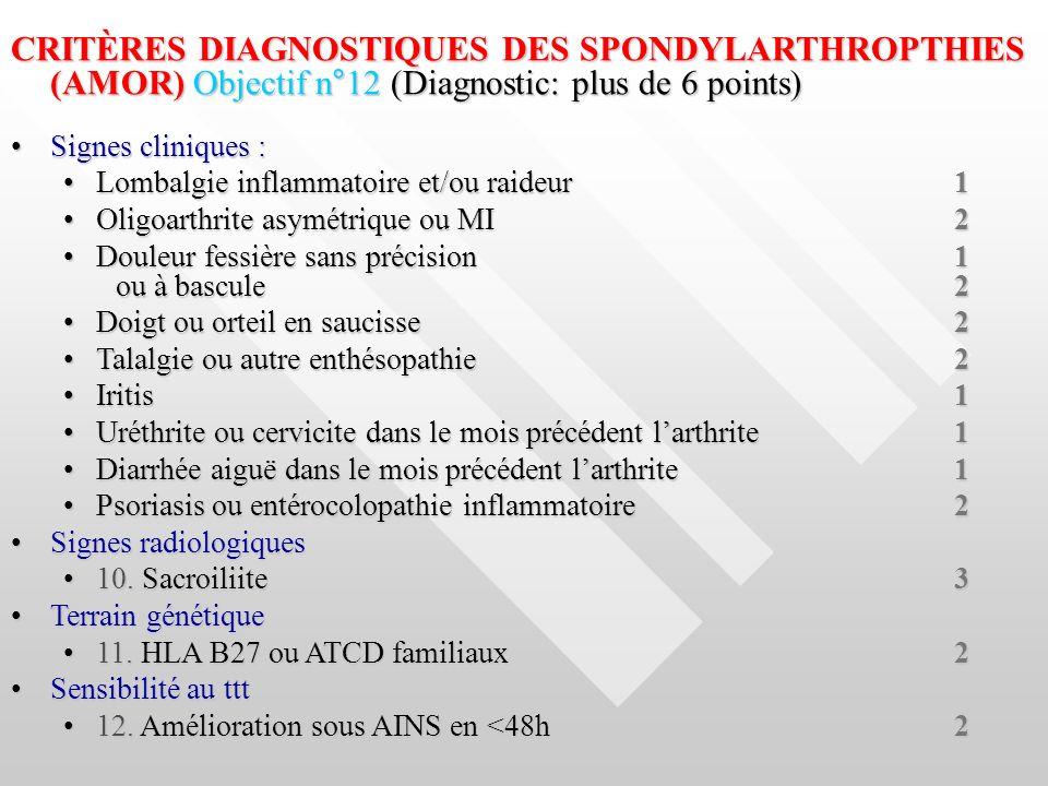 CRITÈRES DIAGNOSTIQUES DES SPONDYLARTHROPTHIES (AMOR) Objectif n°12 (Diagnostic: plus de 6 points)