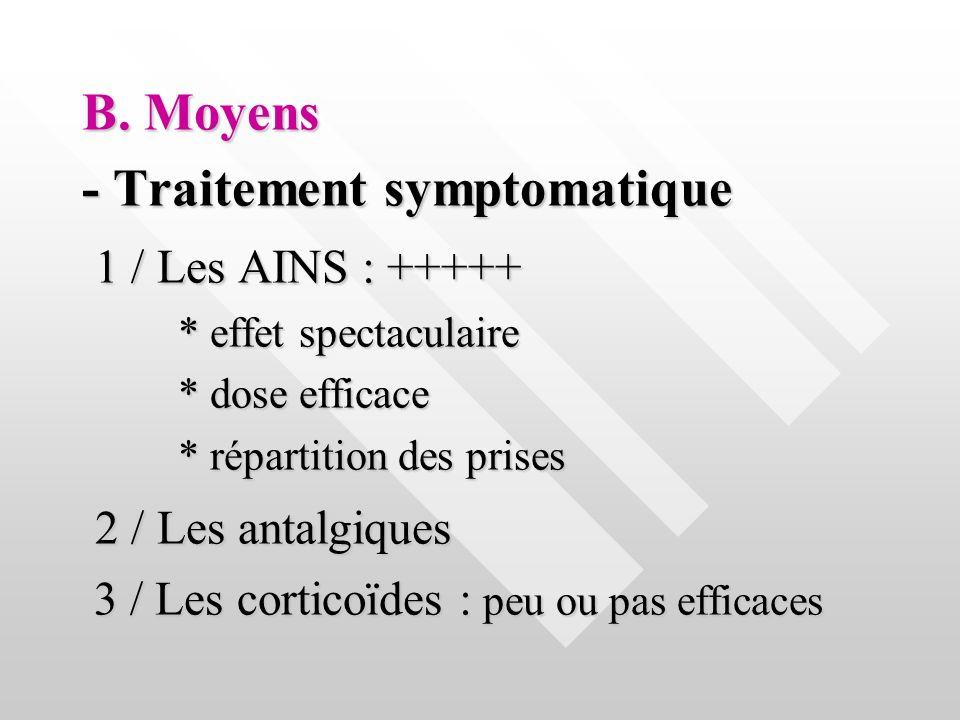 - Traitement symptomatique 1 / Les AINS : +++++