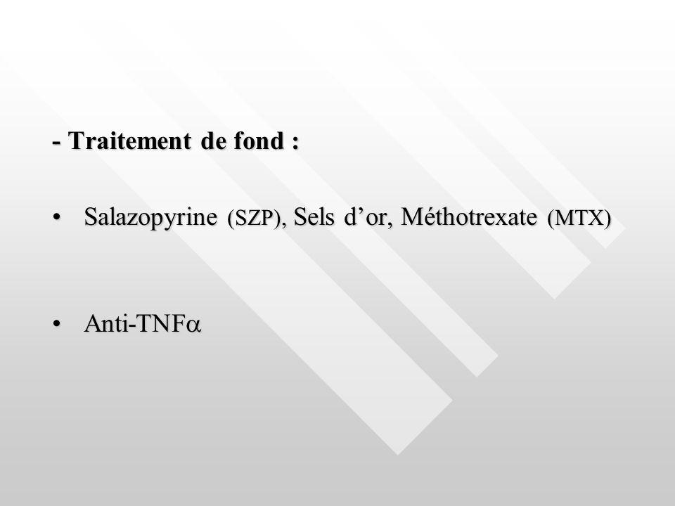 - Traitement de fond : Salazopyrine (SZP), Sels d'or, Méthotrexate (MTX) Anti-TNF