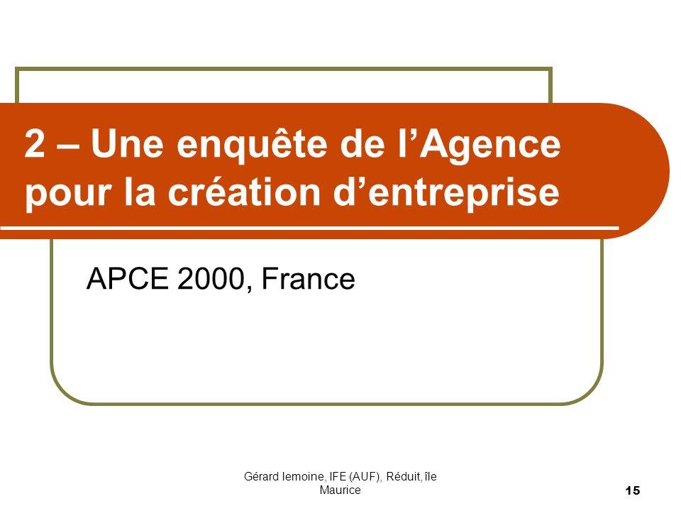 2 – Une enquête de l'Agence pour la création d'entreprise
