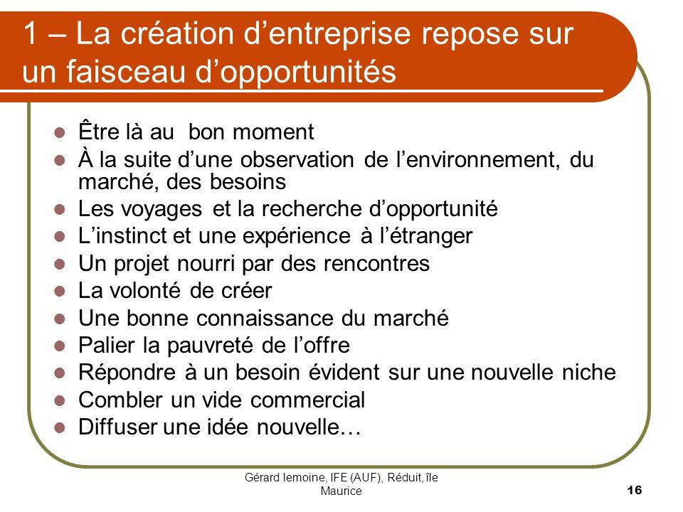 1 – La création d'entreprise repose sur un faisceau d'opportunités