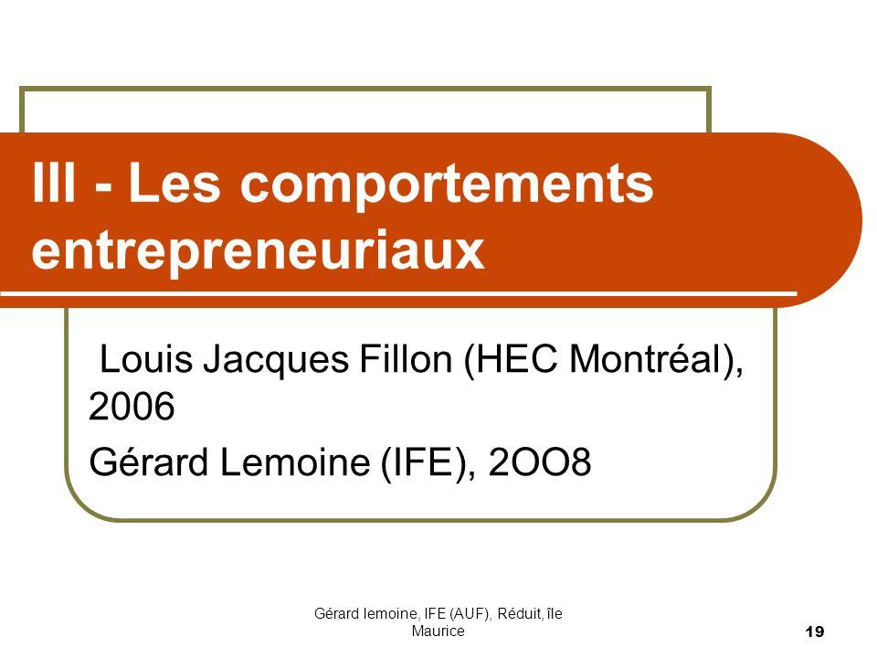 III - Les comportements entrepreneuriaux