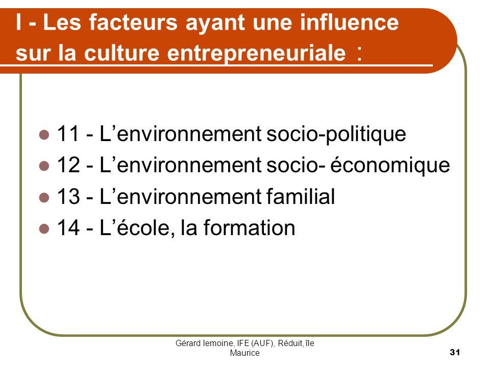 I - Les facteurs ayant une influence sur la culture entrepreneuriale :