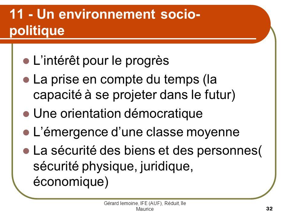 11 - Un environnement socio-politique
