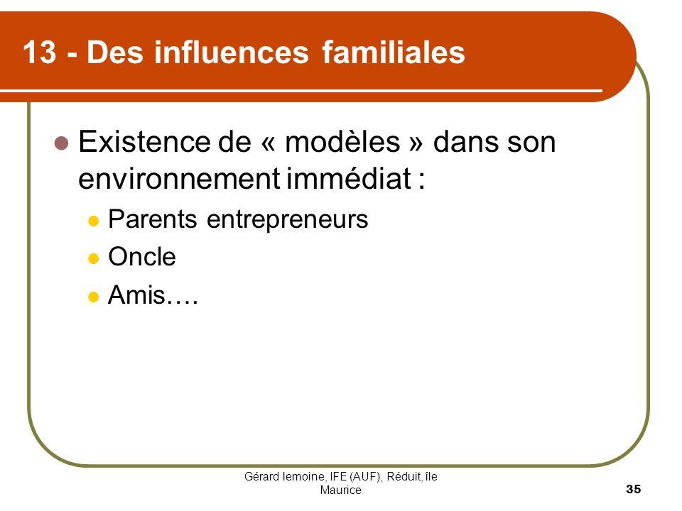13 - Des influences familiales