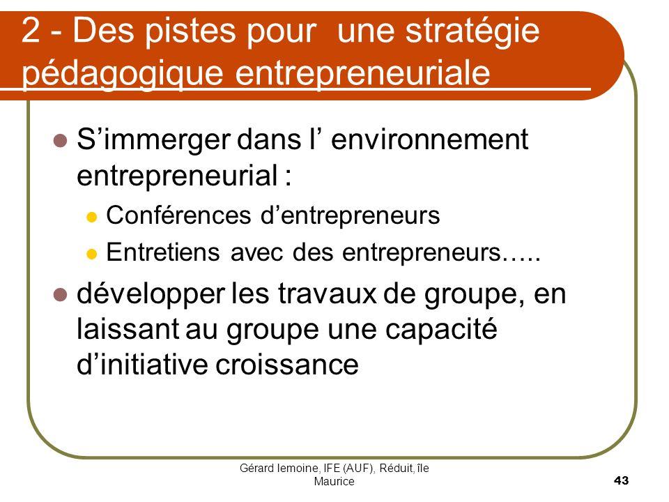 2 - Des pistes pour une stratégie pédagogique entrepreneuriale