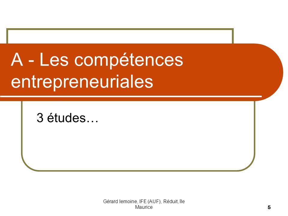 A - Les compétences entrepreneuriales