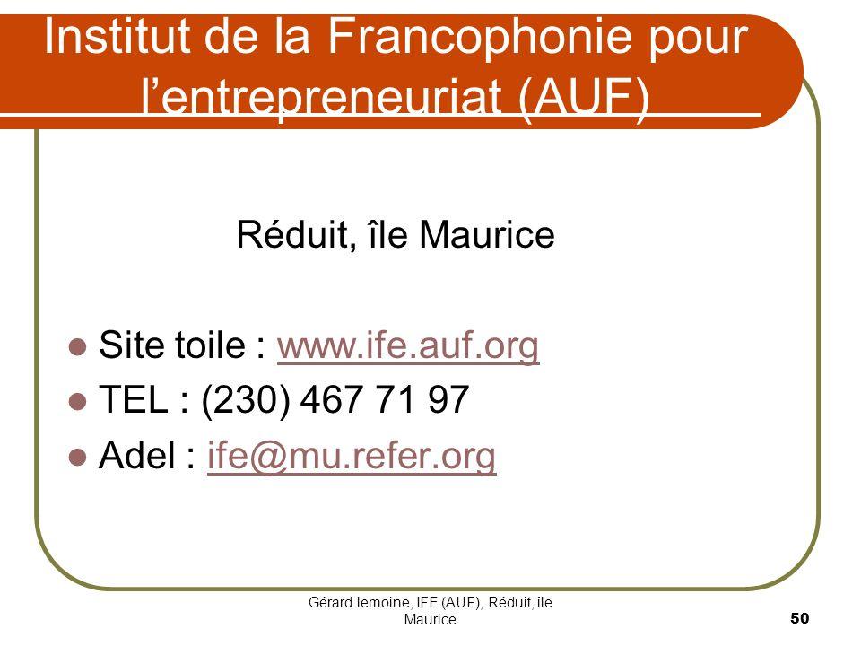 Institut de la Francophonie pour l'entrepreneuriat (AUF)