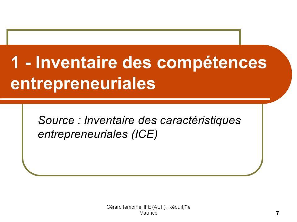 1 - Inventaire des compétences entrepreneuriales