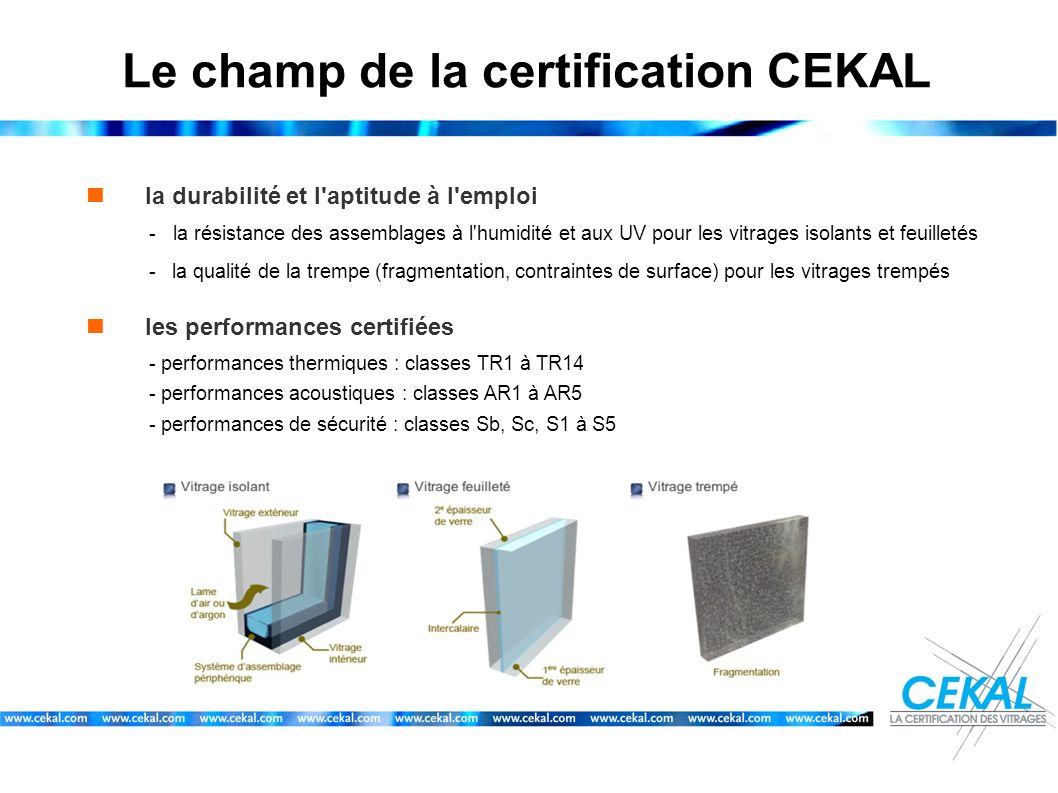 Le champ de la certification CEKAL
