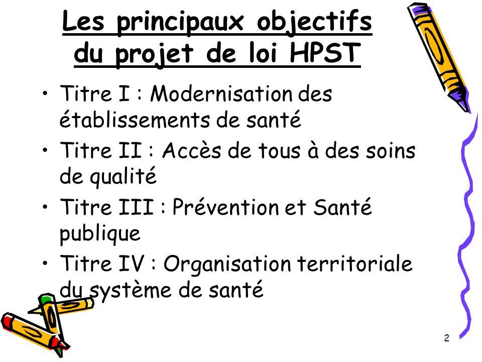 Les principaux objectifs du projet de loi HPST
