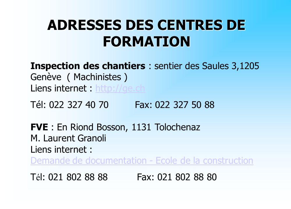 ADRESSES DES CENTRES DE FORMATION