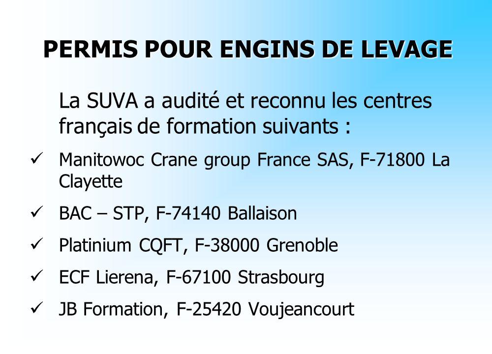 PERMIS POUR ENGINS DE LEVAGE