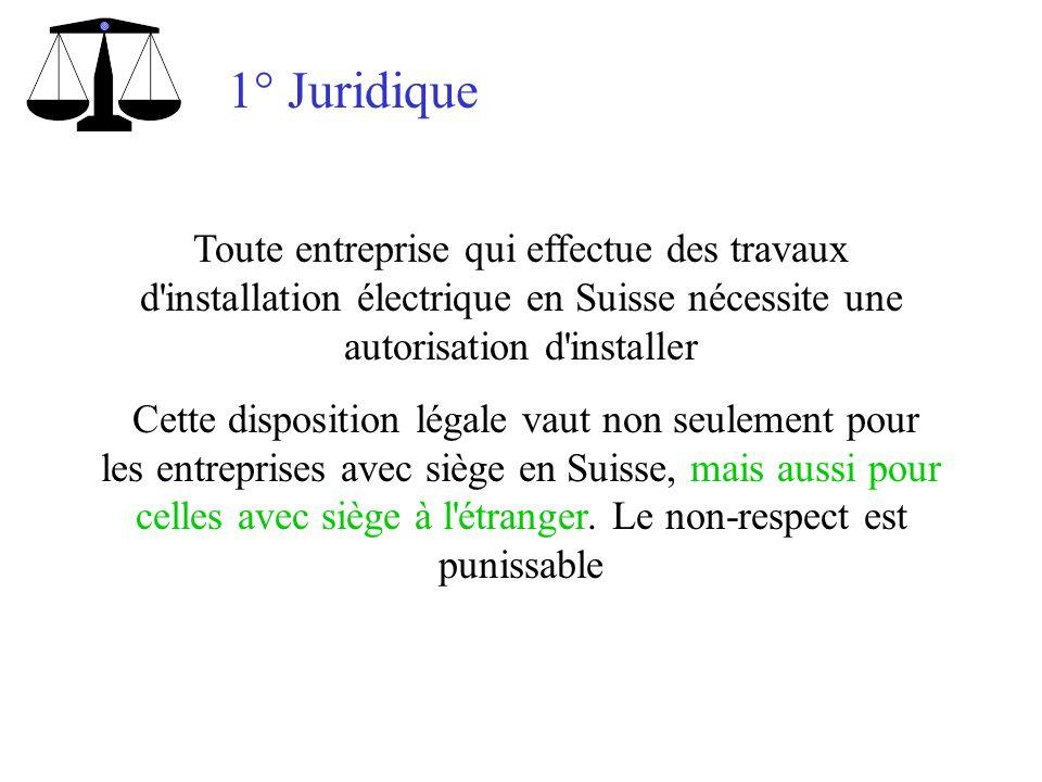 1° Juridique Toute entreprise qui effectue des travaux d installation électrique en Suisse nécessite une autorisation d installer.