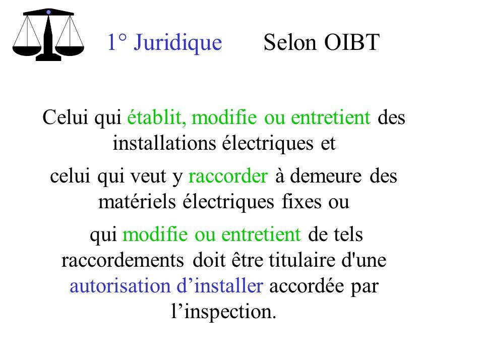 1° Juridique Selon OIBT. Celui qui établit, modifie ou entretient des installations électriques et.