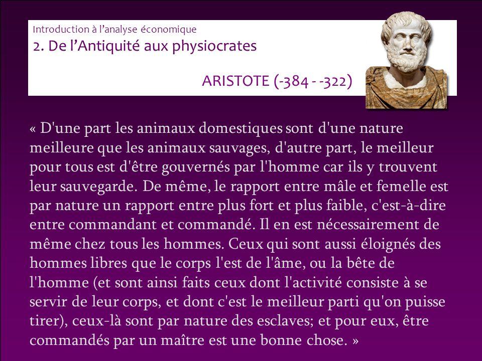 2. De l'Antiquité aux physiocrates