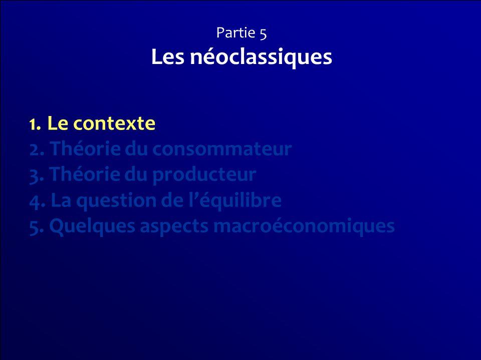 Les néoclassiques Le contexte 2. Théorie du consommateur