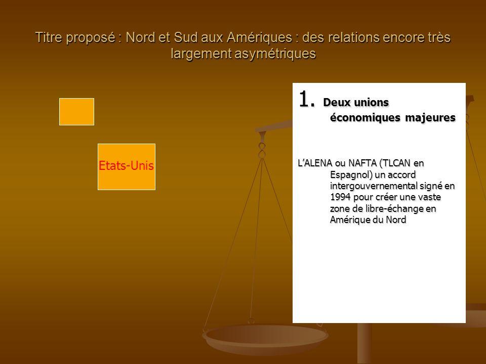 1. Deux unions économiques majeures