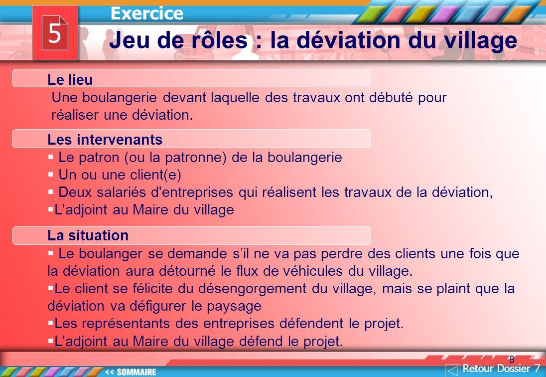 5 Jeu de rôles : la déviation du village Exercice Le lieu