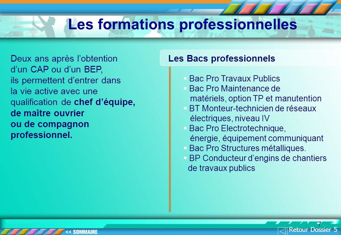 Les formations professionnelles