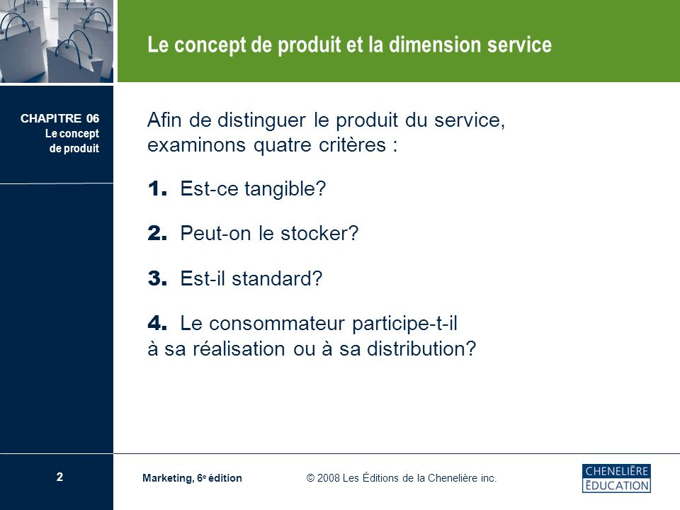 Le concept de produit et la dimension service
