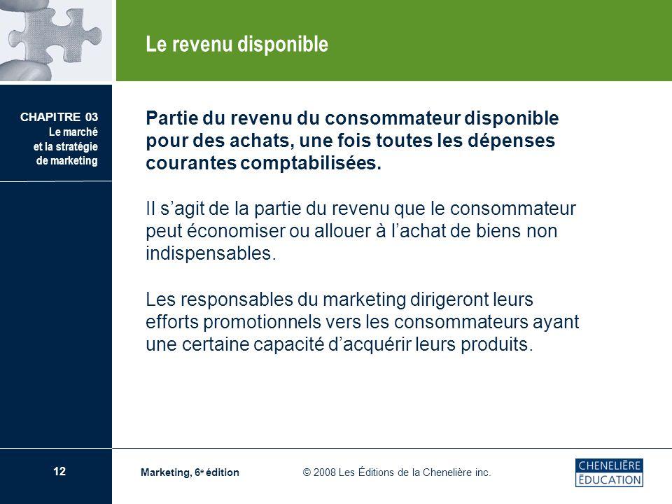 Le revenu disponiblePartie du revenu du consommateur disponible pour des achats, une fois toutes les dépenses courantes comptabilisées.