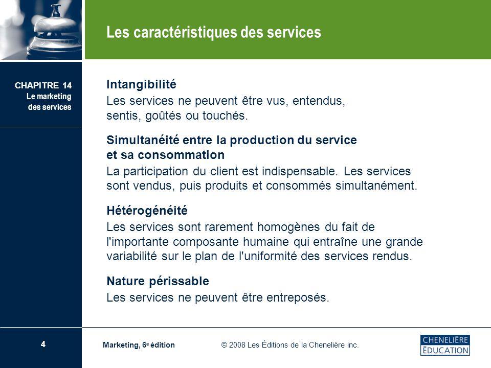 Les caractéristiques des services