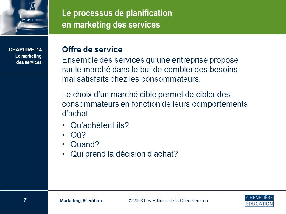 Le processus de planification en marketing des services