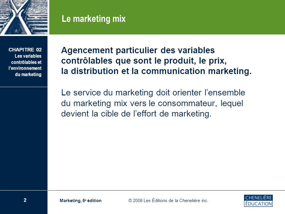 Le marketing mix Agencement particulier des variables contrôlables que sont le produit, le prix, la distribution et la communication marketing.