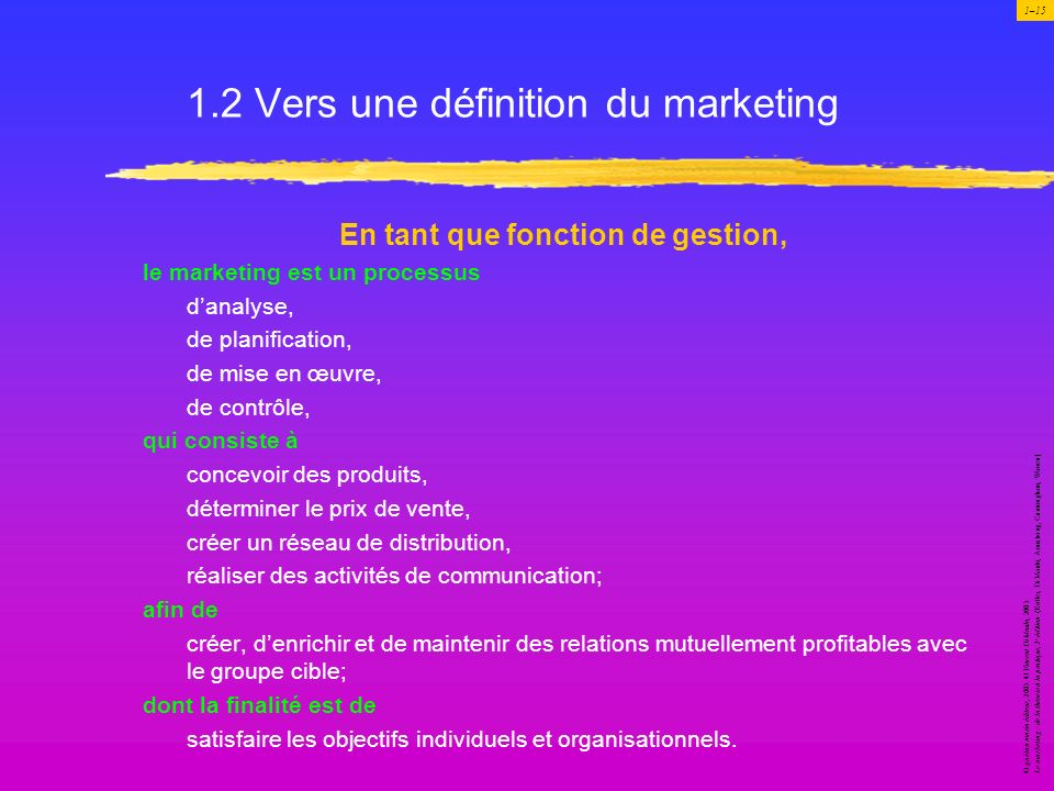 1.2 Vers une définition du marketing