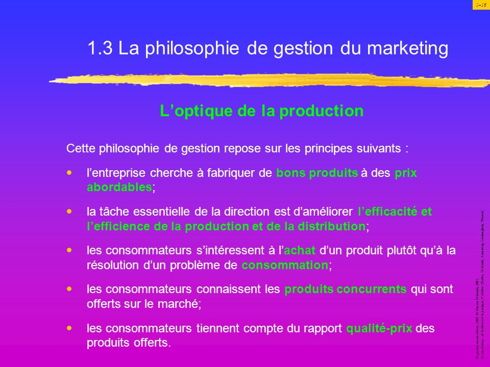 1.3 La philosophie de gestion du marketing
