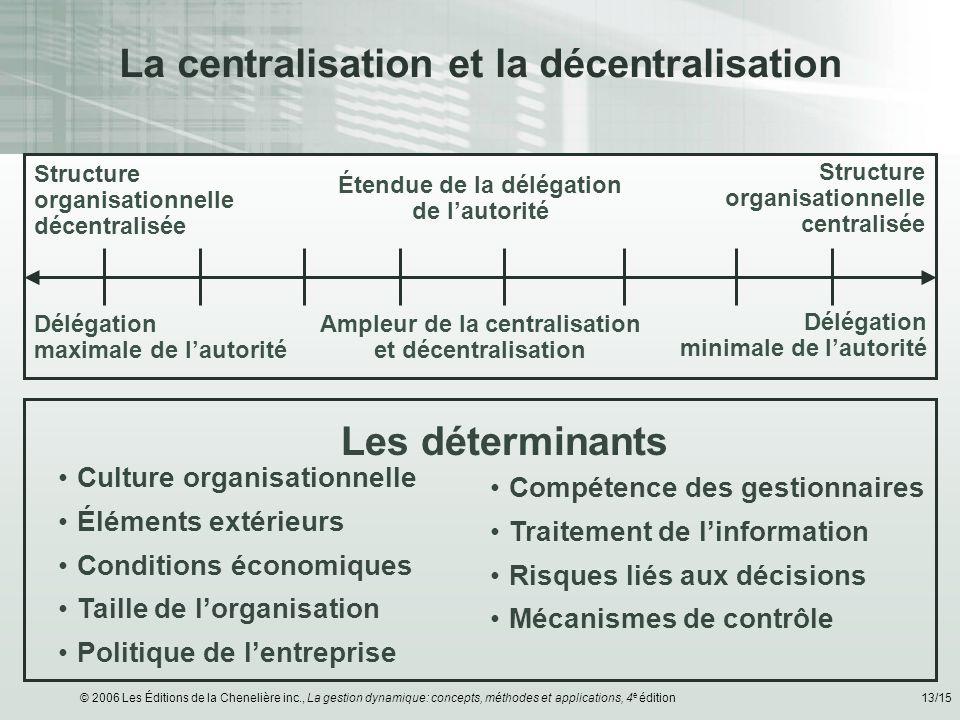 La centralisation et la décentralisation