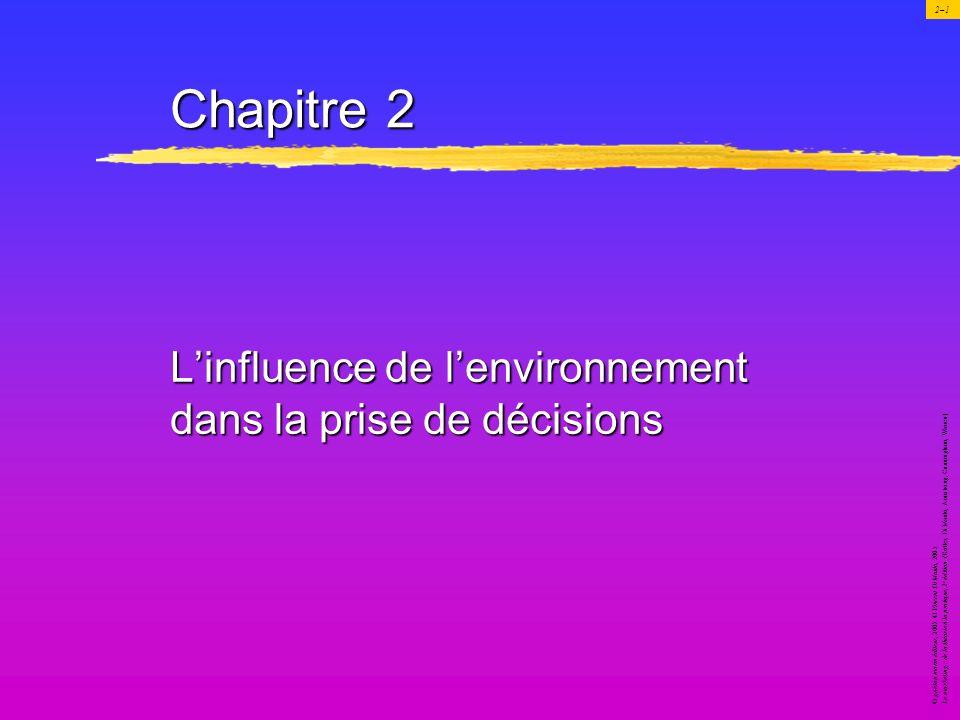 Chapitre 2 L'influence de l'environnement dans la prise de décisions
