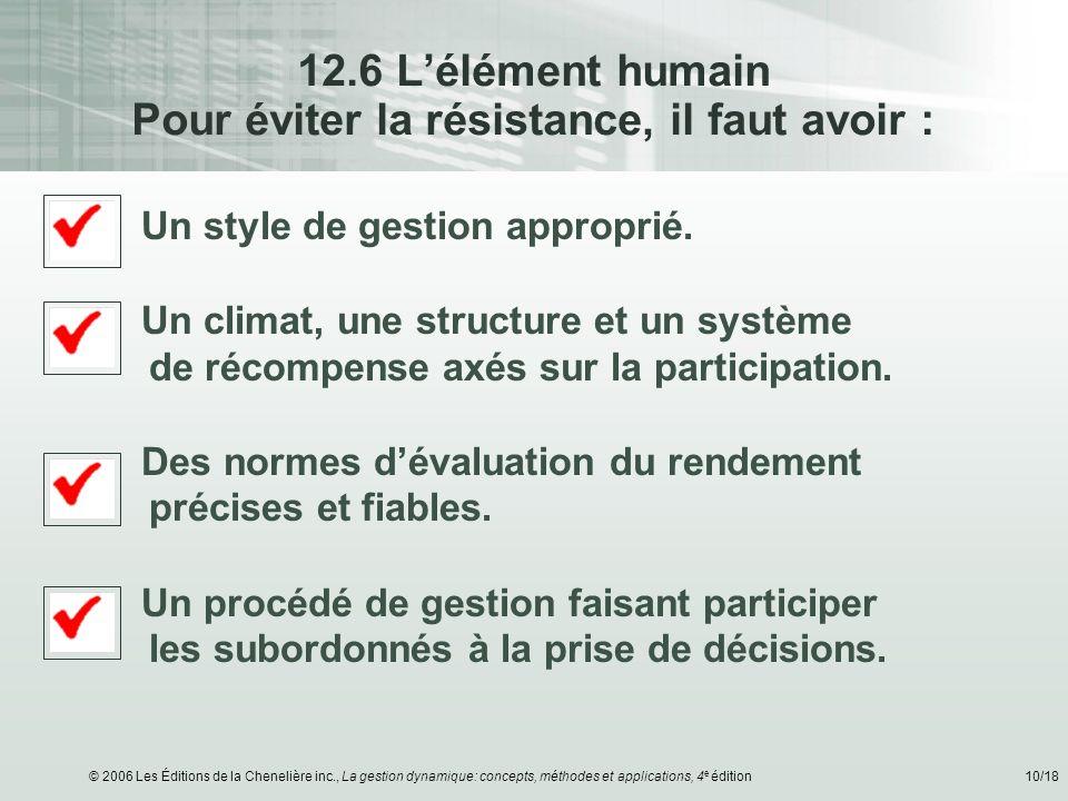 12.6 L'élément humain Pour éviter la résistance, il faut avoir :