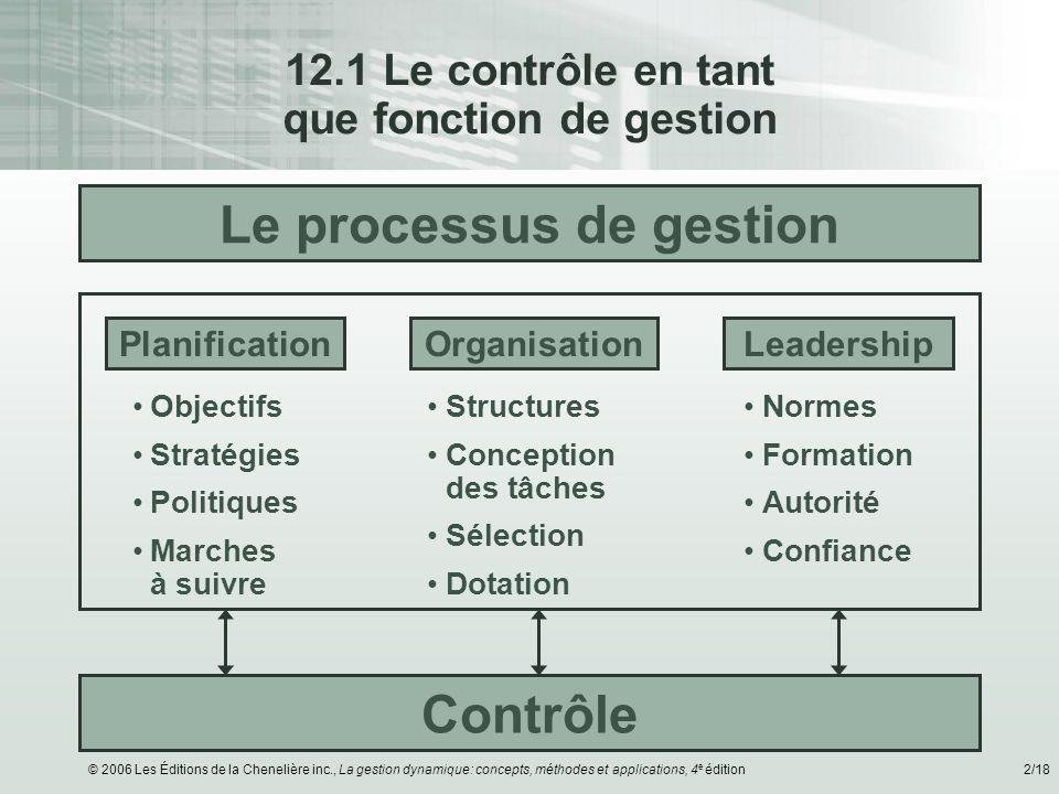 12.1 Le contrôle en tant que fonction de gestion