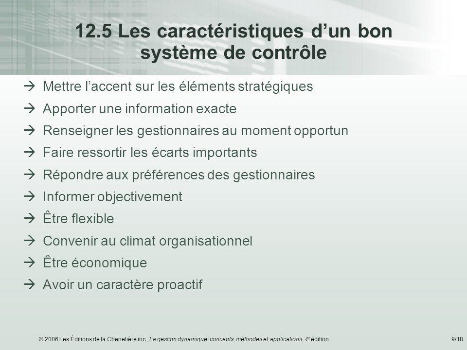 12.5 Les caractéristiques d'un bon système de contrôle