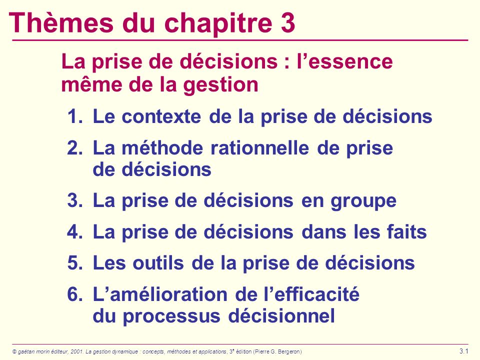 Thèmes du chapitre 3 La prise de décisions : l'essence même de la gestion. 1. Le contexte de la prise de décisions.