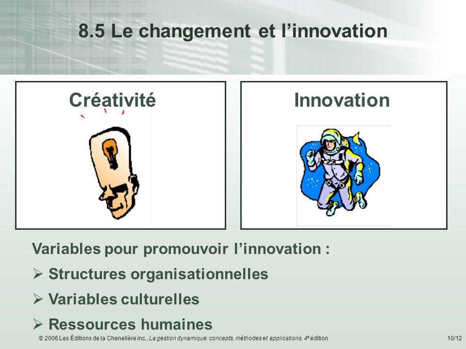 8.5 Le changement et l'innovation