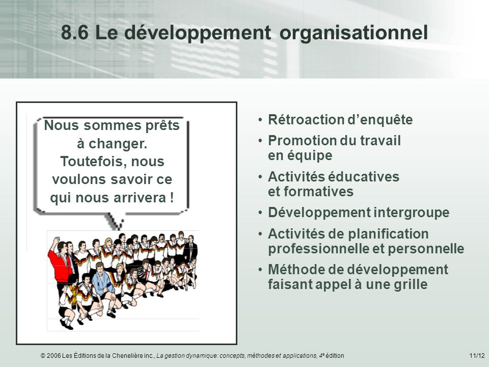 8.6 Le développement organisationnel