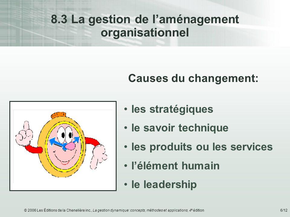 8.3 La gestion de l'aménagement organisationnel