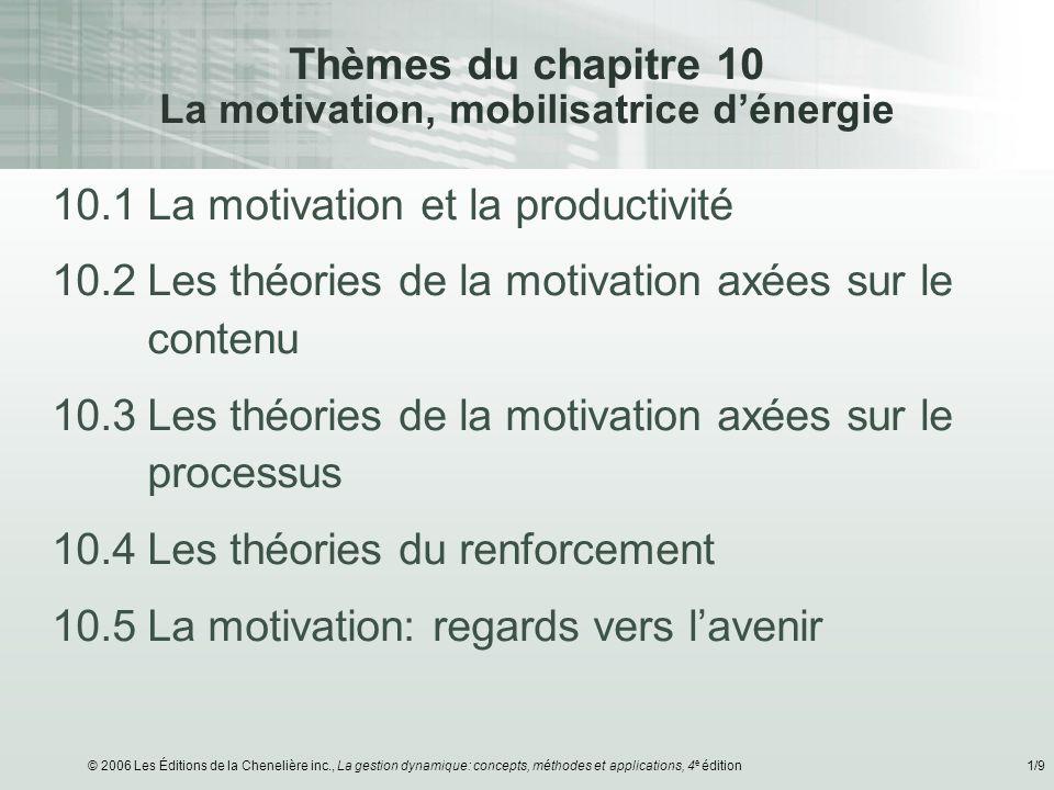 Thèmes du chapitre 10 La motivation, mobilisatrice d'énergie