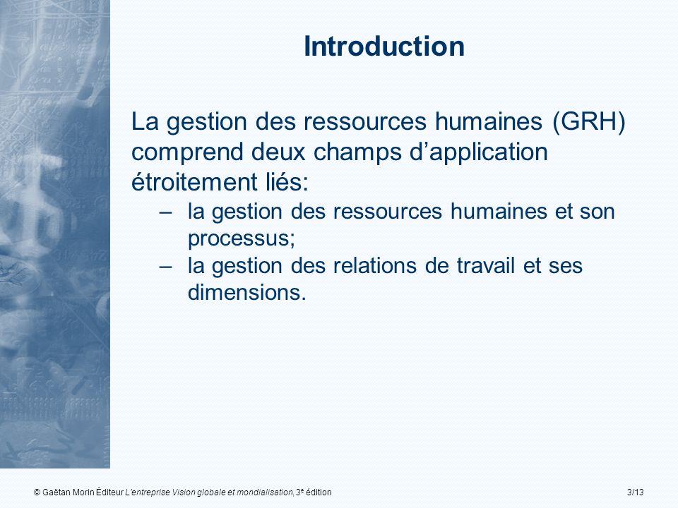 Introduction La gestion des ressources humaines (GRH) comprend deux champs d'application étroitement liés: