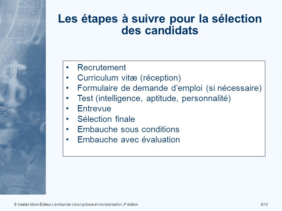 Les étapes à suivre pour la sélection des candidats