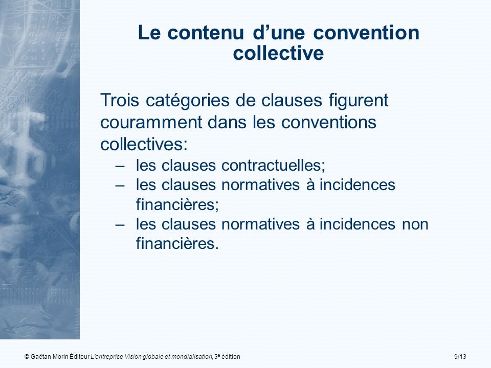 Le contenu d'une convention collective