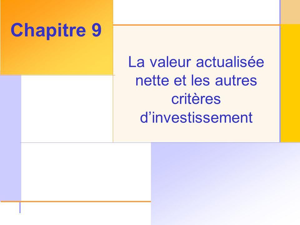 La valeur actualisée nette et les autres critères d'investissement